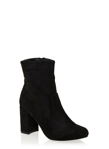 Faux Suede Ankle Boots with Chunky Covered Heels,BLACK F/S,large