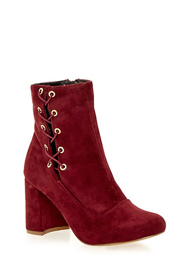 Faux Suede Ankle Boots with Lace Up Side,BURGUNDY F/S,large