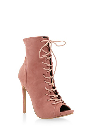Lace Up Peep Toe Booties with Stiletto Heels,BLUSH,large