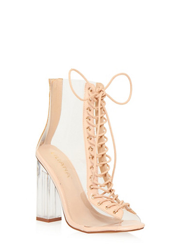 Clear Lace Up Booties with Patent Leather Trim,NUDE,large