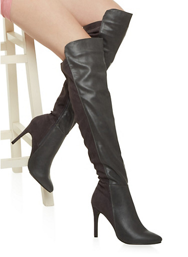 Over the Knee Boots in Faux Leather,GRAY,large