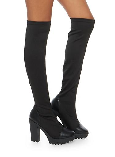 Lug Sole Platform Stretch Boots,BLACK,large