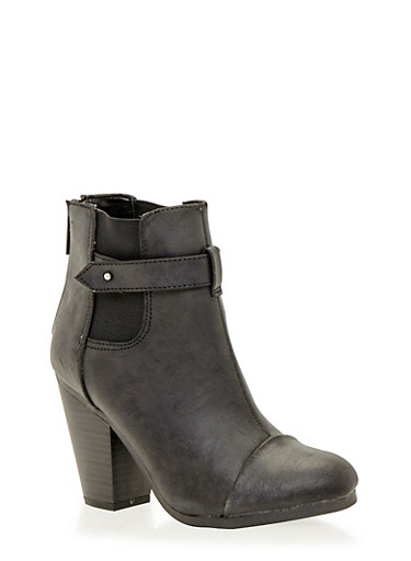 Ankle Boots with Chunky Heels and Cap Toes,BLACK,large
