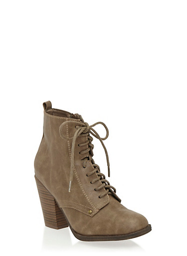 Lace Up Ankle Bootie with Heel,BEIGE,large
