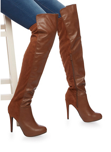 Over the Knee High Heel Boots in Faux Leather and Faux Suede,TAN,large