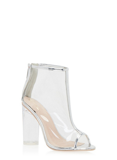 Clear Ankle Boots with Peep Toe,SILVER,large