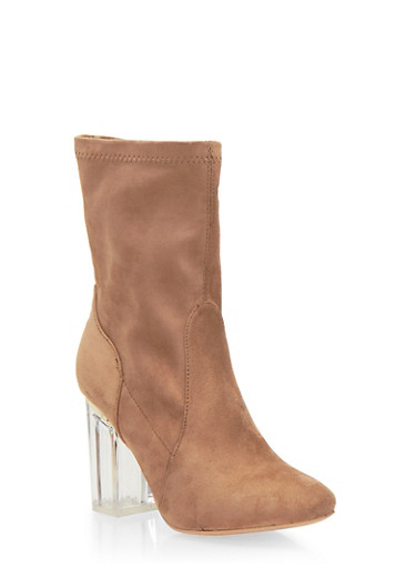 Faux Suede Booties with Clear Heel,TAUPE,large