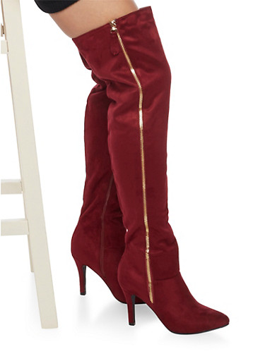 Zip Up Thigh High Boots,WINE,large