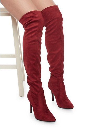 Over The Knee Boots with Tie Back,WINE,large