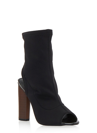 Peep Toe Bootie with Stacked Heel,BLACK,large