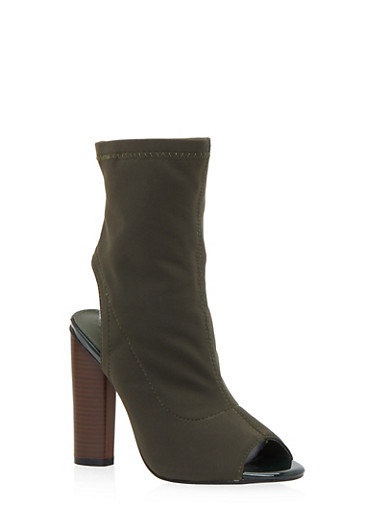 Peep Toe Bootie with Stacked Heel,OLIVE,large