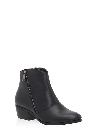 Ankle Boots with Side Zip Accents,BLACK PU,large