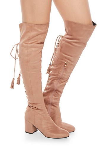 Lace Up Back Over the Knee Boots,BLUSH F/S,large