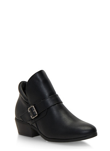 Ankle Boots with Buckle Accent,BLACK,large