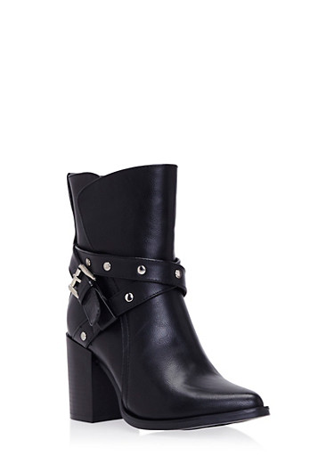 Ankle Boots with Buckle Accent,BLACK PU,large