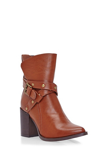 Studded Wrap Buckle Moto Ankle Boots,CHESTNUT PU,large