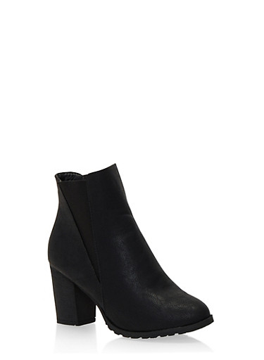 Ankle Boots with Chunky Heel,BLACK,large