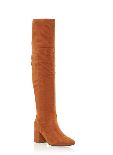 Over the Knee Boots with Block Heel,TAN F/S,large