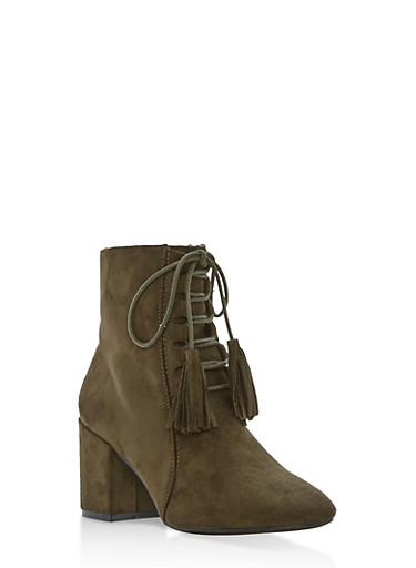 Lace Up Faux Suede Booties at Rainbow Shops in Daytona Beach, FL | Tuggl