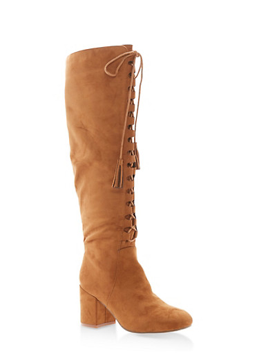 Lace Up Tassel Tall Boots,TAN F/S,large