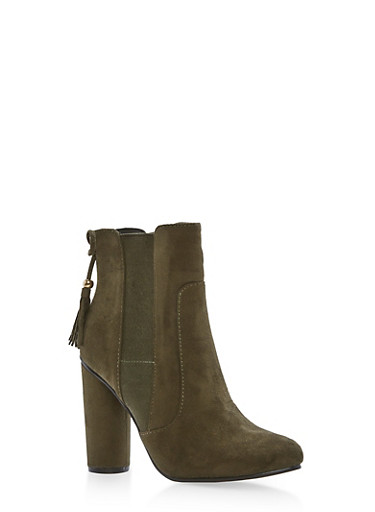 High Heel Booties with Tassel Detail,OLIVE F/S,large