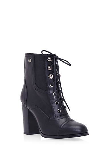 Lace-Up Ankle Boots with Stacked Heel,BLACK PU,large