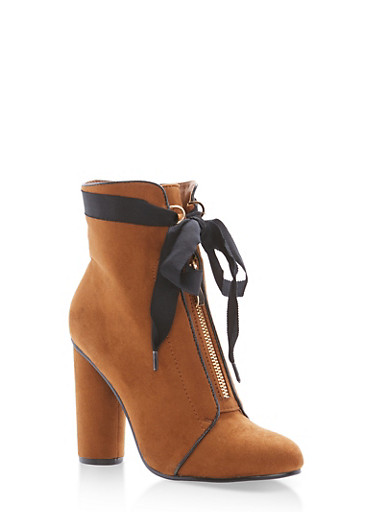 Ribbon Tie Zip Front Booties,TAN F/S,large