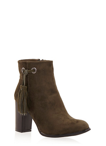 Faux Suede Ankle Boots with Side Tassel,OLIVE,large