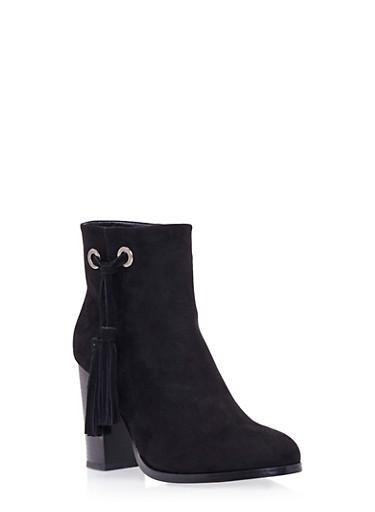 Faux Suede Ankle Boots with Side Tassel,BLACK FAUX SUEDE,large