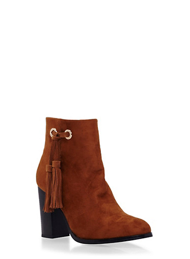 Faux Suede Ankle Boots with Side Tassel,CHESTNUT F/S,large
