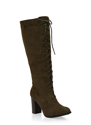 Lace Up Knee High Boots,OLIVE F/S,large