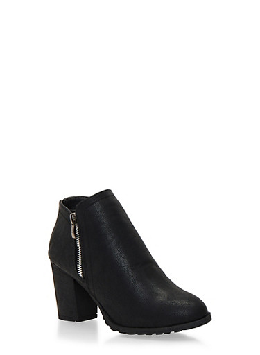 Side Zip Ankle Boots with Block Heel,BLACK,large