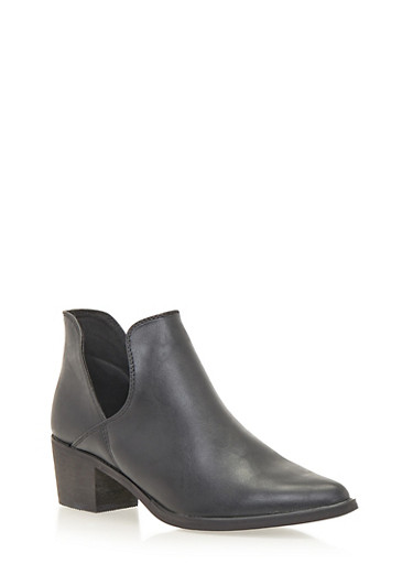 Ankle Boots with Side Cutouts,BLACK,large