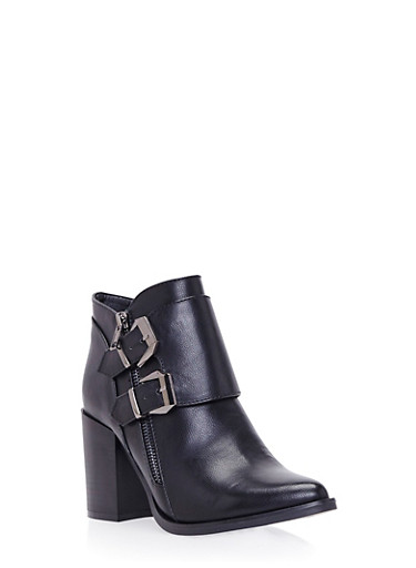 Ankle Boots with Side Buckle Accents,BLACK PU,large