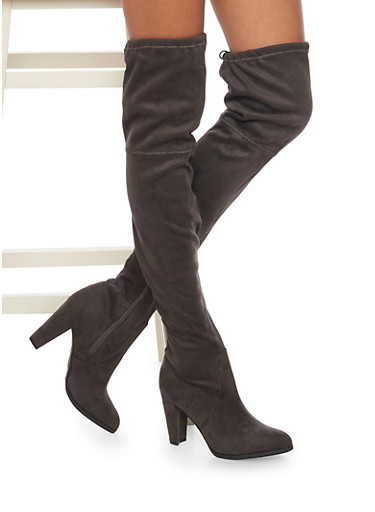 Knee High Boots with Tie Back,GRAY,large