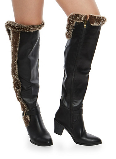 Faux Leather Over the Knee Heeled Boots,BLACK,large