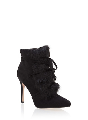 Faux Fur Lace Up High Heel Booties,BLACK,large