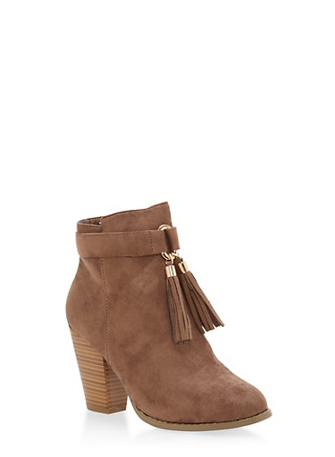 Tassel Detail Faux Suede Booties,TAUPE,large