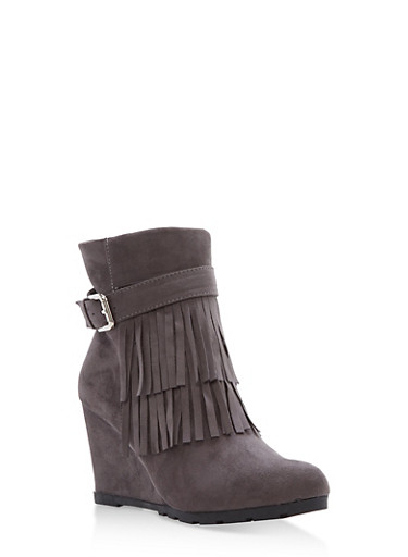 Faux Suede Fringe Wedge Booties,GRAY,large