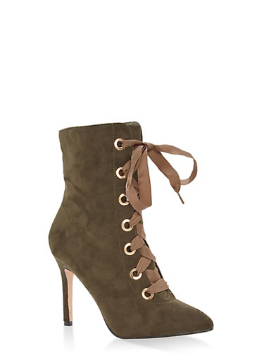 Lace Up High Heel Booties,OLIVE F/S,large