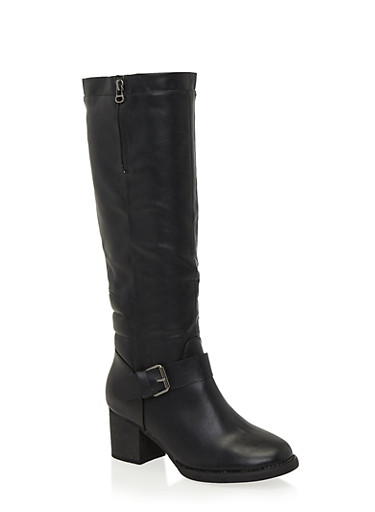 Knee High Boots with Side Buckle Accents,BLACK,large