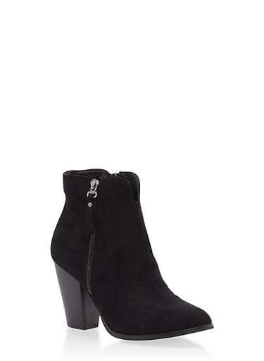 Faux Suede Side Zip Stacked Booties,BLACK,large