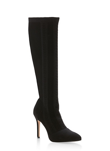 Knit High Heel Stretch Boots,BLACK,large