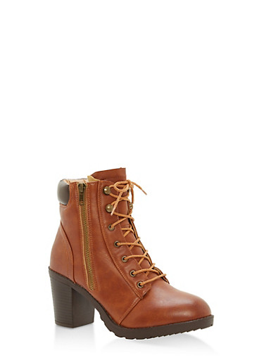 Padded Collar Mid Heel Lace Up Booties,COGNAC,large