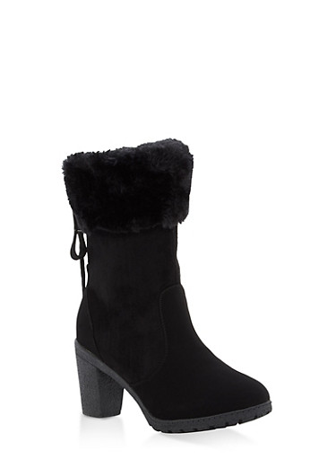 Faux Fur Cuff High Heel Lace Up Booties,BLACK SUEDE,large