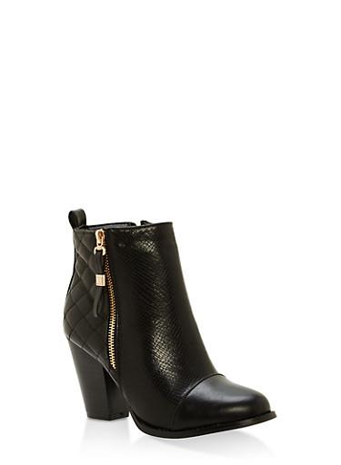 Quilted Side Zip High Heel Booties,BLACK,large