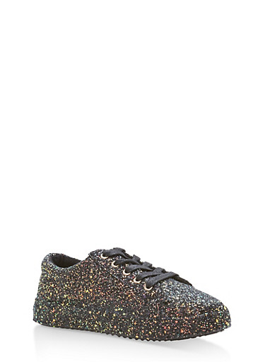 Glitter Lace Up Sneakers,BLACK GLITTER,large