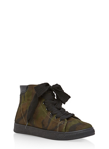 High Top Lace Up Sneakers,CAMOUFLAGE F/S,large