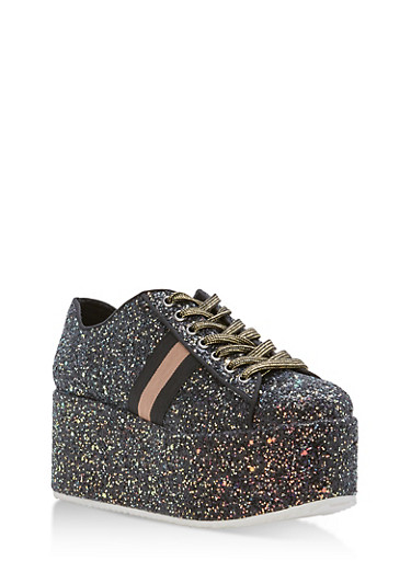 Glitter Platform Lace Up Sneakers,BLACK GLITTER,large
