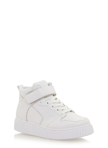 High Top Creeper Sneaker with Grip Tape Ankle Strap,WHITE PU/WHITE,large